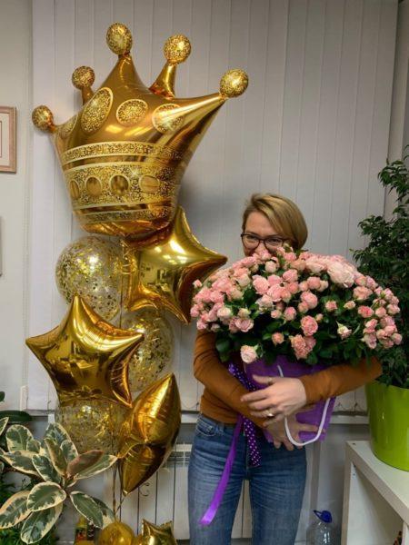букет шаров с короной